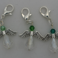 Crochet stitch markers - silver angel x3 in green clear