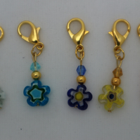 Crochet stitch markers - gold and millefiori beads in bright colours x5