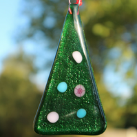 Fused glass Christmas tree decorations - pastel pink and blue