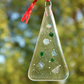 Fused glass Christmas tree decorations - clear dichroic and emerald