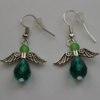 Silver plated beaded earrings- silver Christmas angel teal