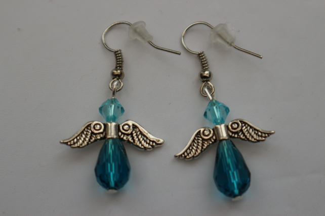 Silver plated beaded earrings- silver Christmas angel deep turquoise blue