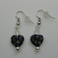 Silver plated beaded earrings- dark blue millefiori heart