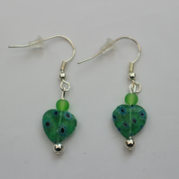 Silver plated beaded earrings- green and blue millefiori heart