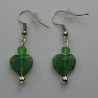 Silver plated beaded earrings- green and yellow millefiori heart