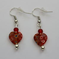 Silver plated beaded earrings- red millefiori heart