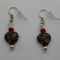 Silver plated beaded earrings- purple millefiori heart