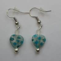 Silver plated beaded earrings- turquoise and clear millefiori heart