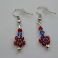 Silver plated beaded earrings- red and blue millefiori flower