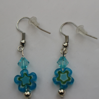 Silver plated beaded earrings- turquoise millefiori flower