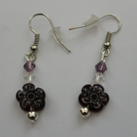 Silver plated beaded earrings- purple millefiori flower