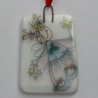 Handmade fused glass decoration or suncatcher - Fairy on white