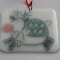 Handmade fused glass decoration or suncatcher - Fat reindeer on white