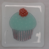 Handmade fused glass coaster - Cupcake