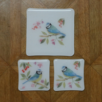 RESERVED CUSTOM ORDER glass coaster trivet set - Blue tit