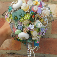 posy wedding bridal customade handmade brooch vintage bouquet free shipping uk