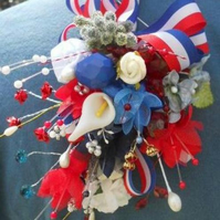 royal wedding corsage bridal street party silk flower beads