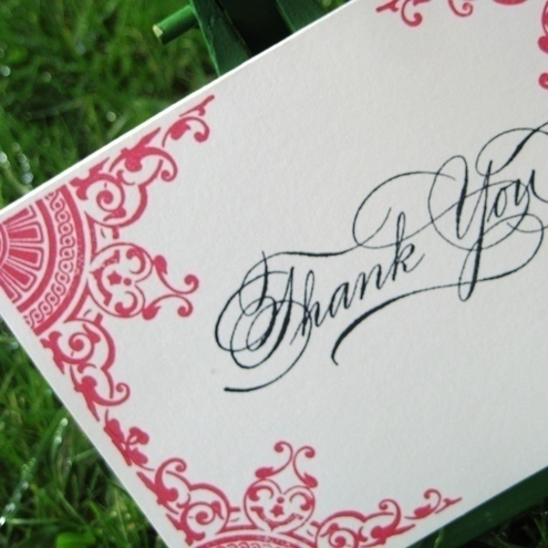 Hand Stamped Thank You Card