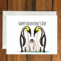 Happy Valentine's Day Penguin Family greeting card A6