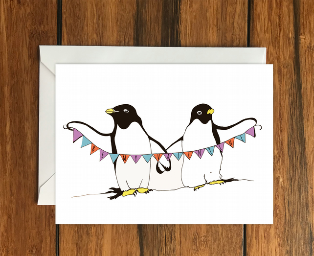 Happy Valentine's Day Penguin Bunting greeting card A6