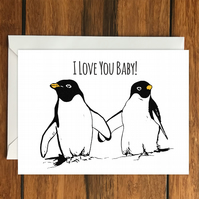 I Love You Baby! Penguin greeting card A6