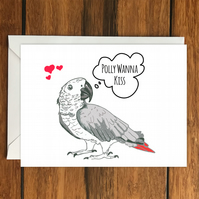 Polly Wanna Kiss Parrot greeting card A6