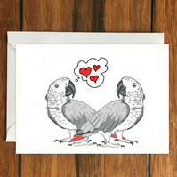Parrot Love greeting card A6