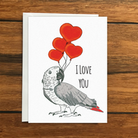 I Love You Parrot greeting card A6