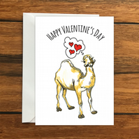 Happy Valentine's Day Camel romantic greeting card A6, valentine's day
