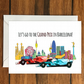 Let's go to the Grand Prix in Barcelona greeting card A6