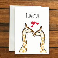 I Love You Giraffes greeting card A6