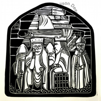 Original Lino print Waiting... lewis chessmen