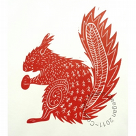 Original lino cut print Red Squirrel