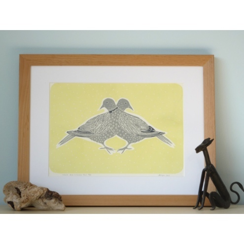 "Original lino print ""Collared Doves in Summer Rain"""