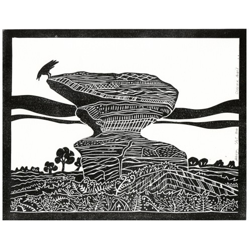 LINO PRINT Crow and Anvil Brimham Rocks geology