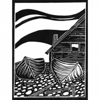 "Original lino cut print ""Fishing boats and hut on Faro"""