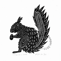 "Original lino cut print ""Red Squirrel"" in black"