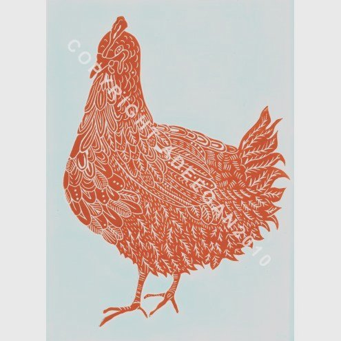 "Original lino cut print ""BETTY'S HEN #1"""