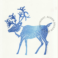 Original lino cut print Ice Blue Caribou