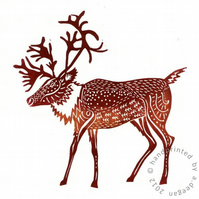 Original lino cut print Caribou - Mulled Wine