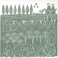 ORIGINAL lino print - 'Down the allotments III'