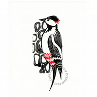Original lino cut print Woodpecker