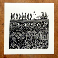 ORIGINAL lino print - 'Down the allotments'