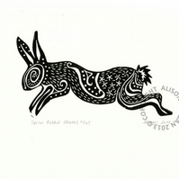 "ORIGINAL lino cut print ""Spiral Rabbit in Black"""