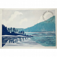 Leaving Saltery Bay LINO PRINT CANADA COAST