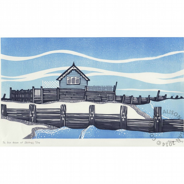 The Blue House at Shellness LINO PRINT SHEPPEY BEACH HUT