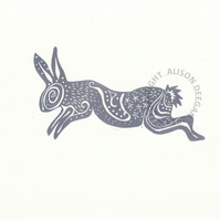 rabbit  hare Spiral Rabbit in Dark Grey ORIGINAL lino cut print