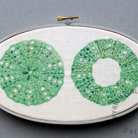 Sea Urchins Top and Bottom - hoop art