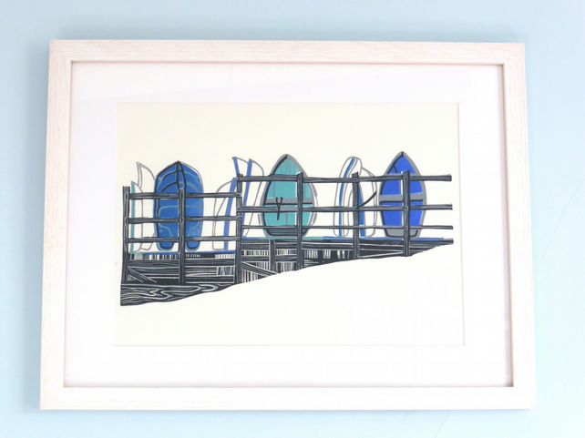UPNOR DINGHIES (BLUE) lino print boat