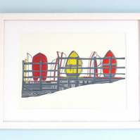 Upnor Dinghies (Red) lino print boats